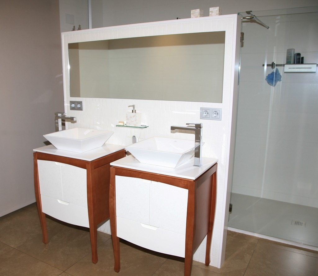 Mueble lavabo blanco cerezo ebanister a for Mueble lavabo blanco