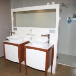 Mueble lavabo blanco-cerezo